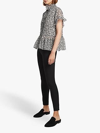 db39a4e17b0b25 French Connection Elvire Lawn Floral Blouse, Utility Blue/Cream