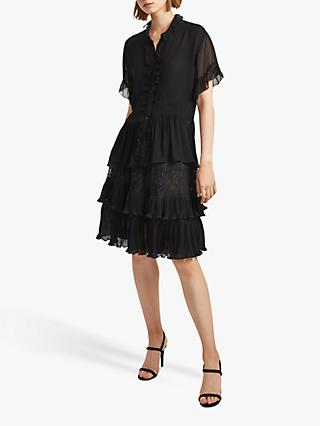 French Connection Clandre Ruffle Sleeve Blouse, Black