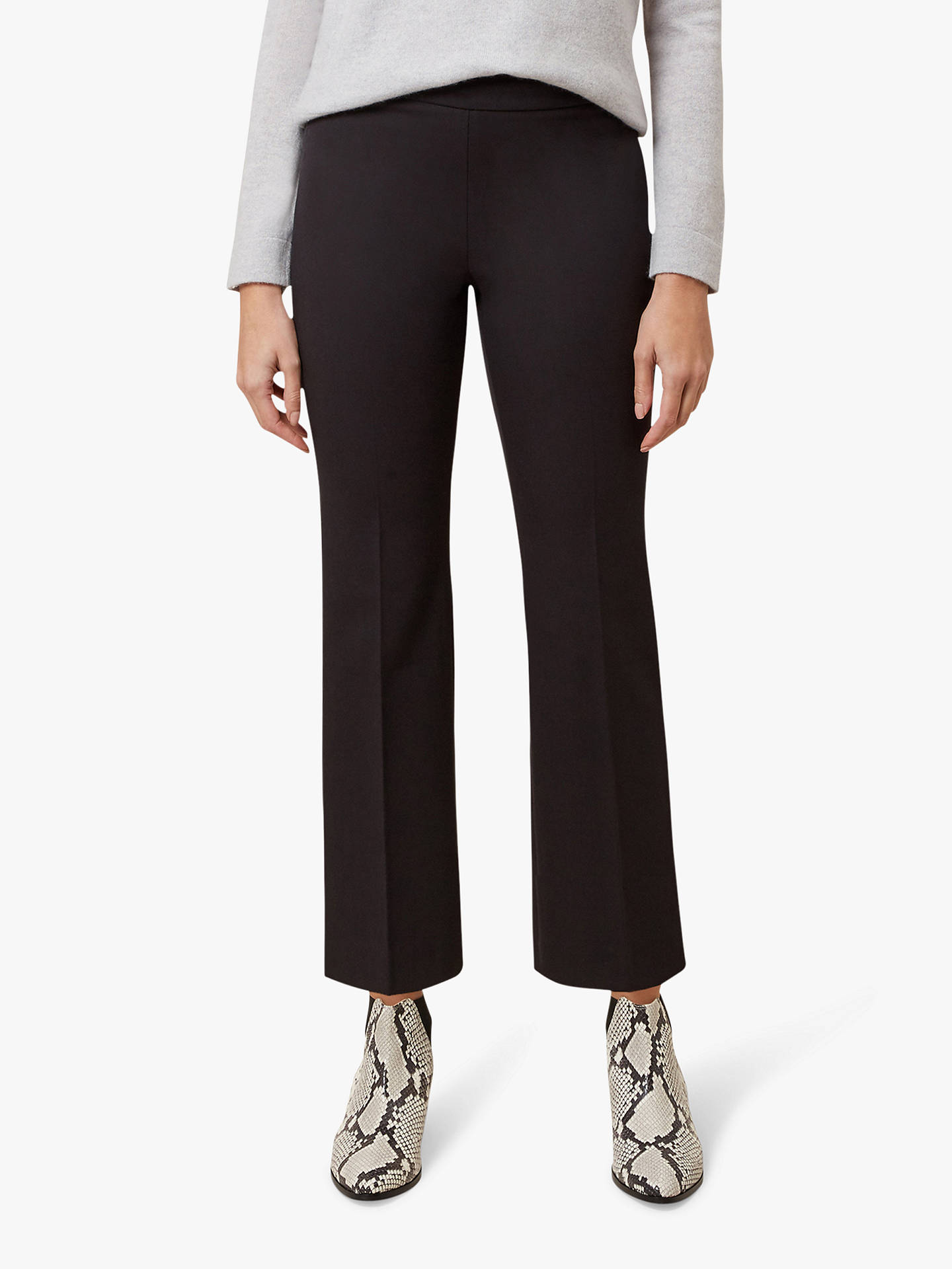 BuyHobbs Amanda Bootcut Cropped Trousers, Black, 10 Online at johnlewis.com