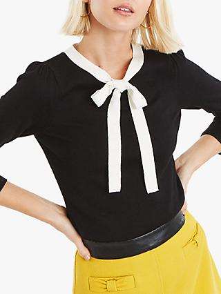 Oasis Peony Bow Jumper, Black/White