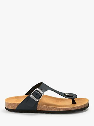 John Lewis & Partners Lana Toe-Post Sandals, Navy Leather