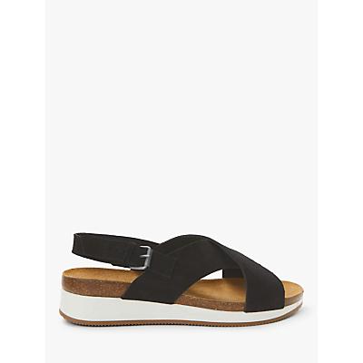 John Lewis & Partners Designed for Comfort Kelda Cross Strap Flatform Sandals, Black Suede