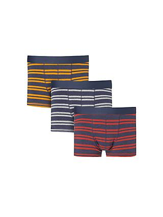 John Lewis & Partners Marl Rugby Stripe Trunks, Pack of 3