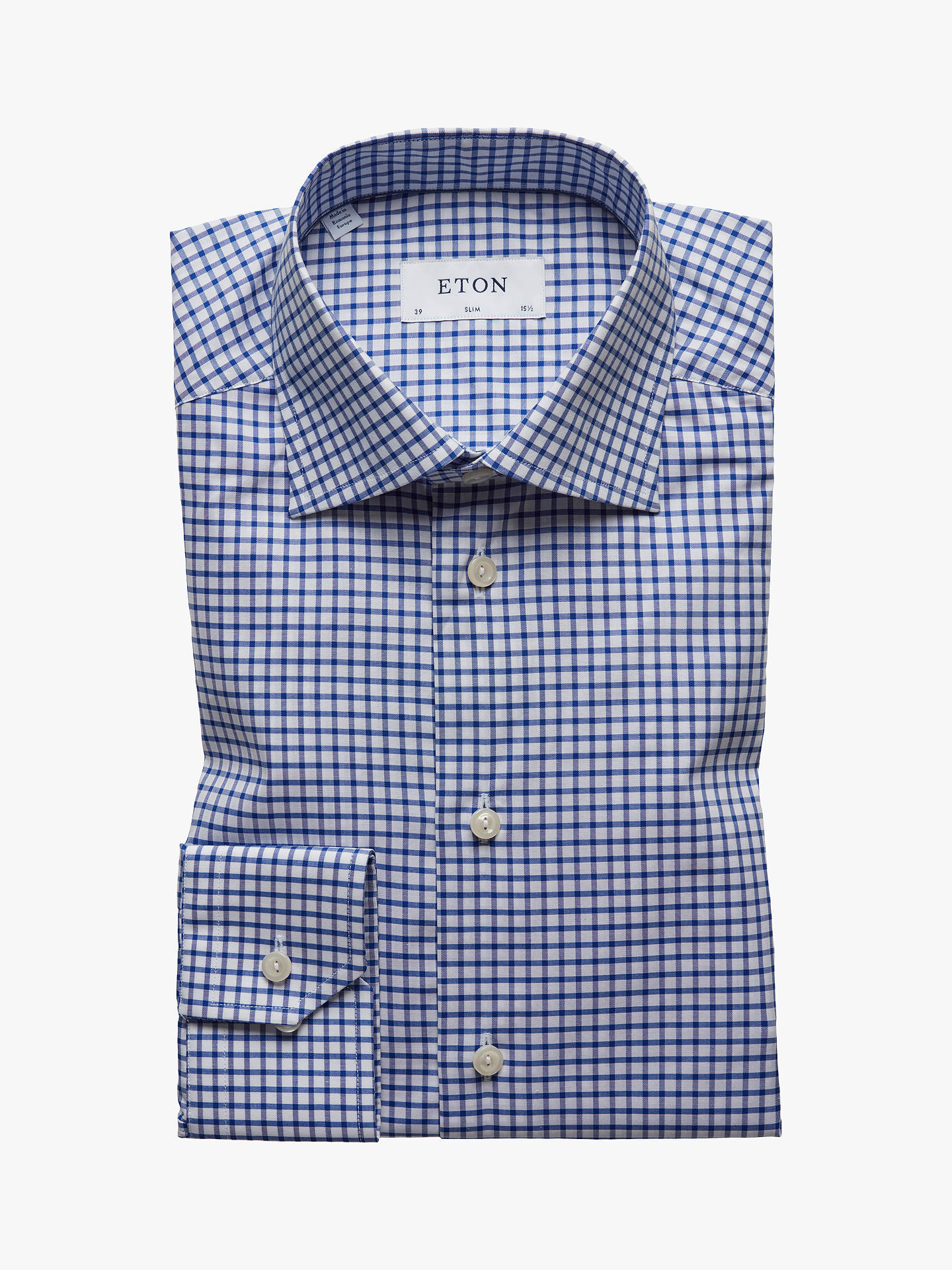763b802524f00d Buy Eton Natural Stretch Twill Check Slim Fit Shirt, White/Blue, 15 Online  ...