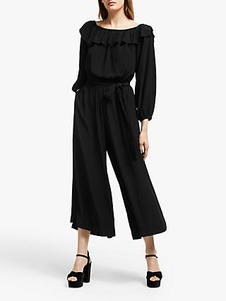 Somerset by Alice Temperley Ruffle Bardot Wide Leg Jumpsuit, Black