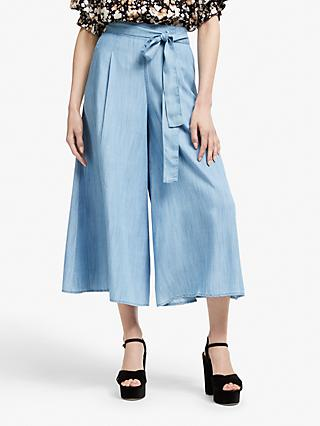 Somerset by Alice Temperley Chambray Tie Waist Culottes, Blue