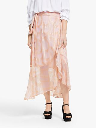 Somerset by Alice Temperley Jacquard Wrap Midi Skirt, Blush