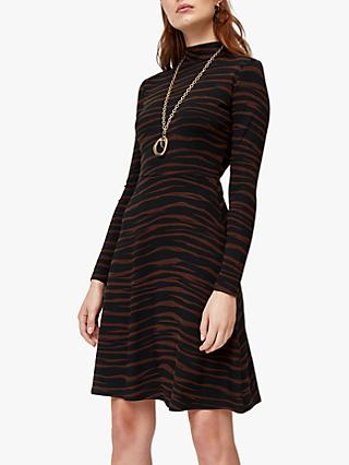 Warehouse Tiger Print Skater Dress, Brown