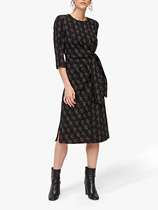Warehouse Snake Print Twist Knot Dress, Black