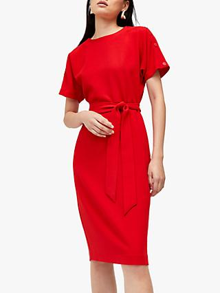 Warehouse Button Midi Dress, Red