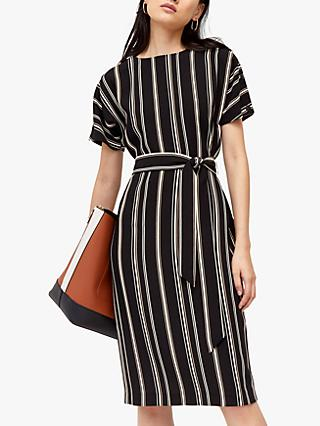 Warehouse Stripe Button Midi Dress, Multi