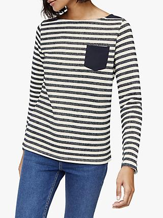 Warehouse Pocket Stripe Jumper, Blue/Cream