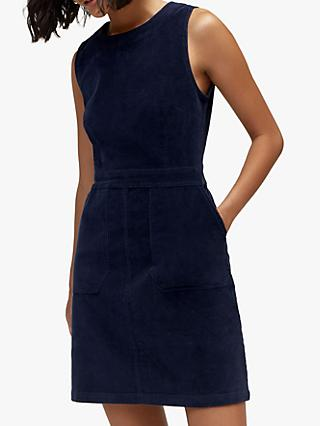 Warehouse Cord Shift Dress, Navy