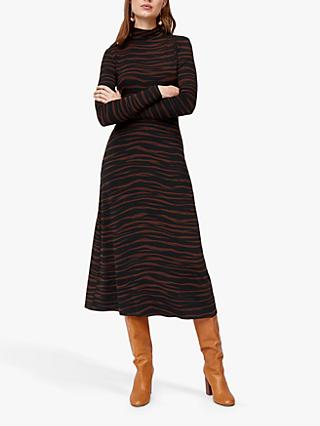 Warehouse Tiger Print Midi Dress, Brown