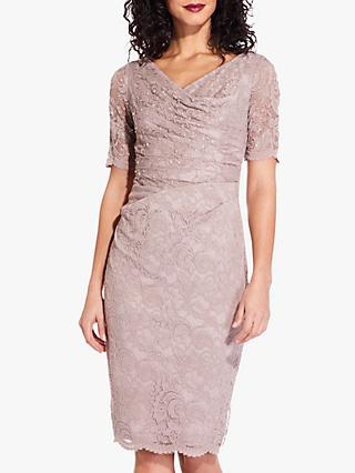 Adrianna Papell Lace Embellished Wrap Dress, Frosted Petal