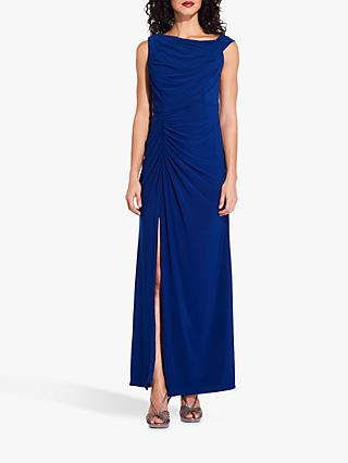 Adrianna Papell Asymmetric Shoulder Jersey Dress, Blue Viloet