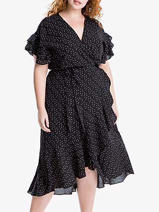 Max Studio + Spot Print Ruffle Sleeve Wrap Dress 46091fb6f