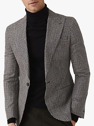 af88705b0a56 Reiss Princeton Dogtooth Check Linen Cotton Blazer