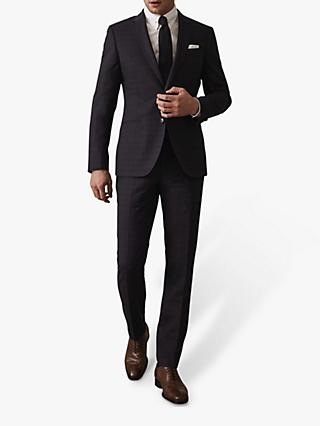 Reiss Gritton Micro Check Slim Fit Suit Jacket, Navy