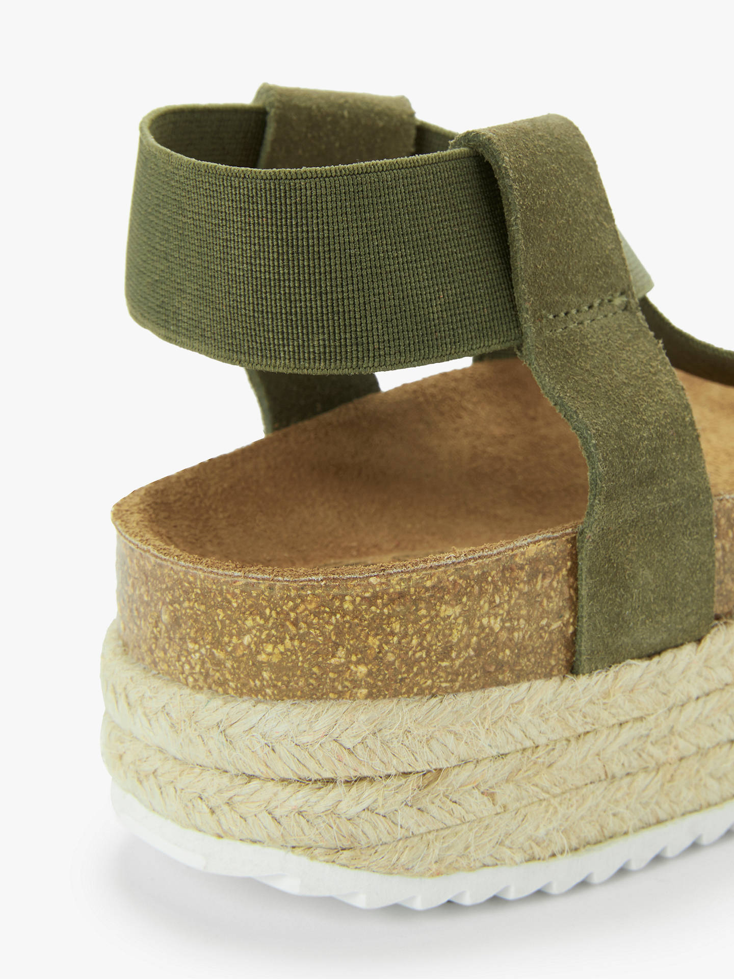 Buy Kin Lena Elasticated Flatform Espadrille Sandals, Khaki, 4 Online at johnlewis.com