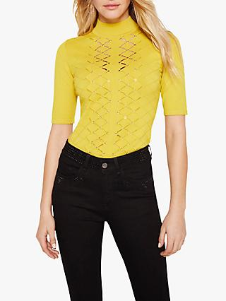Damsel in a Dress Leona Eyelet Cutout Knitted Top, Mustard