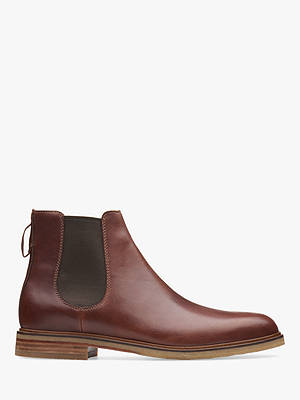Buy Clarks Clarkdale Gobi Leather Chelsea Boots, Mahogany, 6.5 Online at johnlewis.com