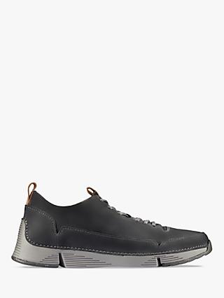 Clarks Tri Spark Leather Trainers, Dark Grey