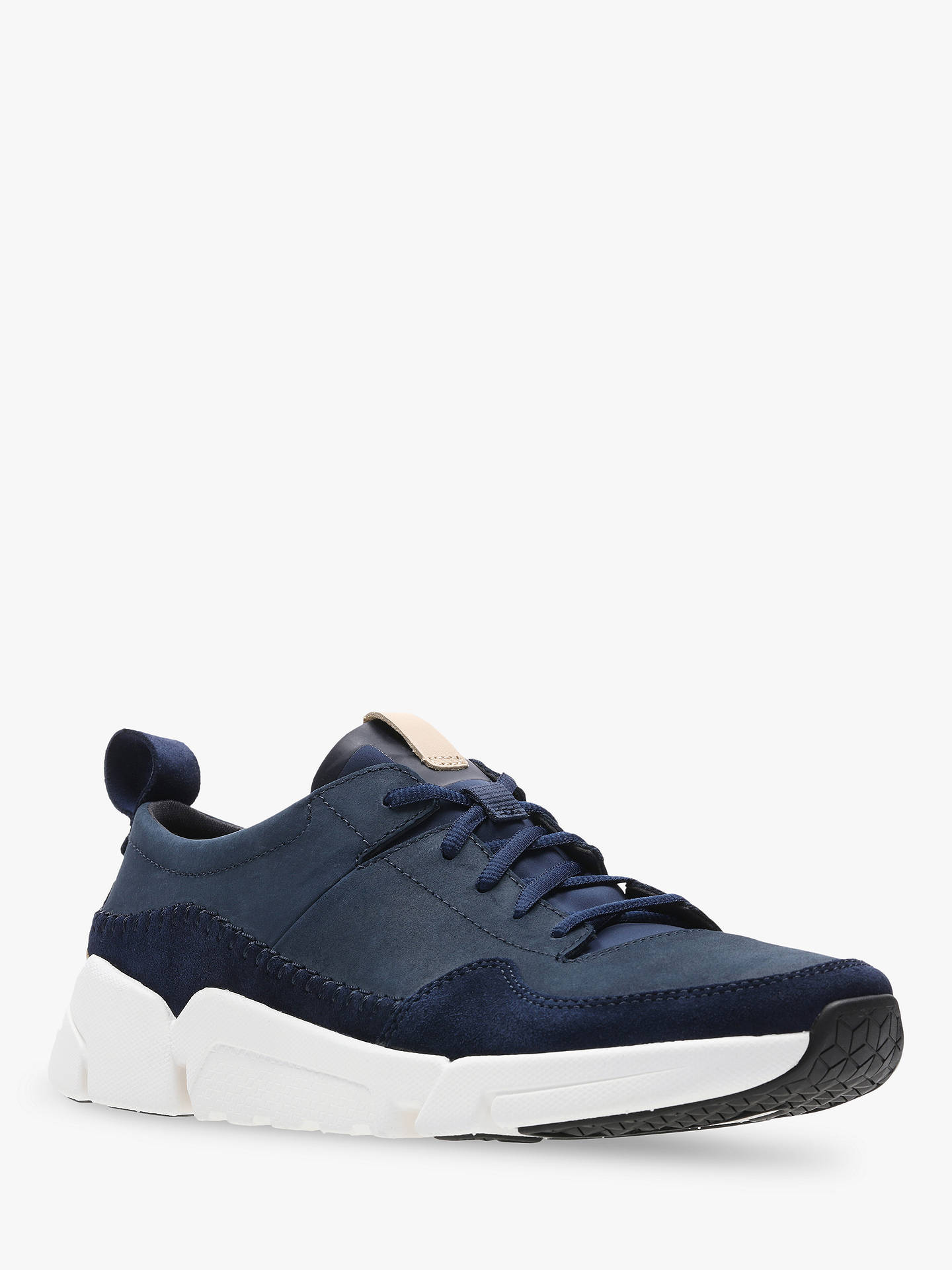 Buy Clarks TriActive Run Leather Trainers, Navy, 6 Online at johnlewis.com