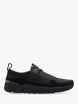 Clarks TriActive Run Leather Trainers, Black