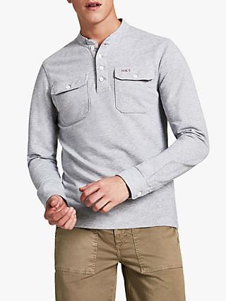 HKT Long Sleeve Loopback Henley Top, Marl