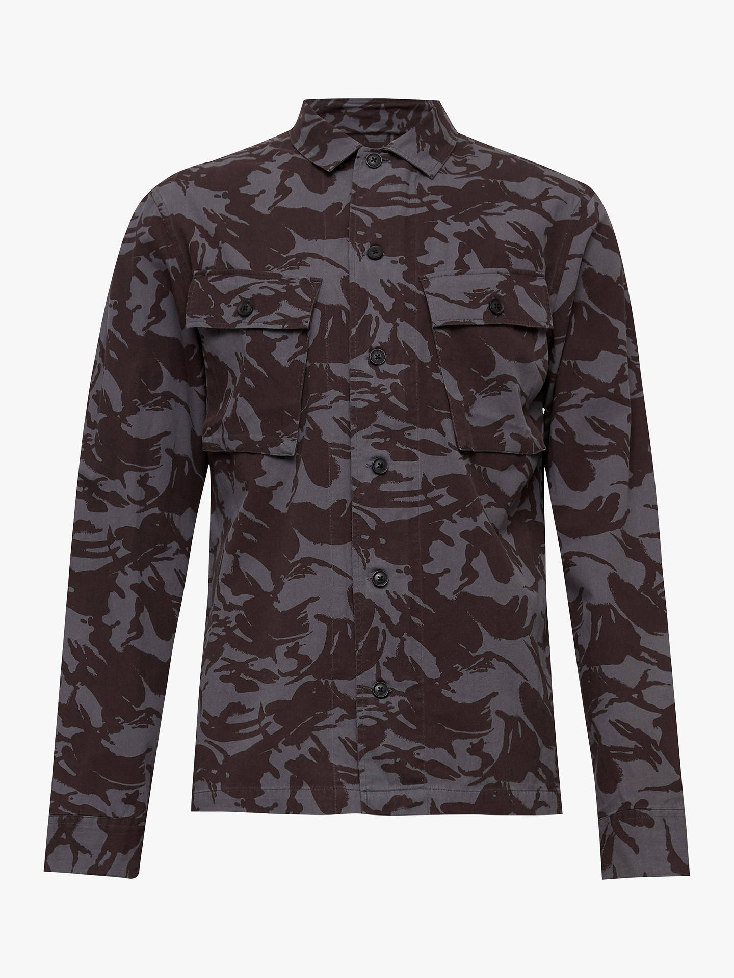 Buy Allsaints Ordnance Long Sleeve Camo Shirt, Navy, S Online at johnlewis.com
