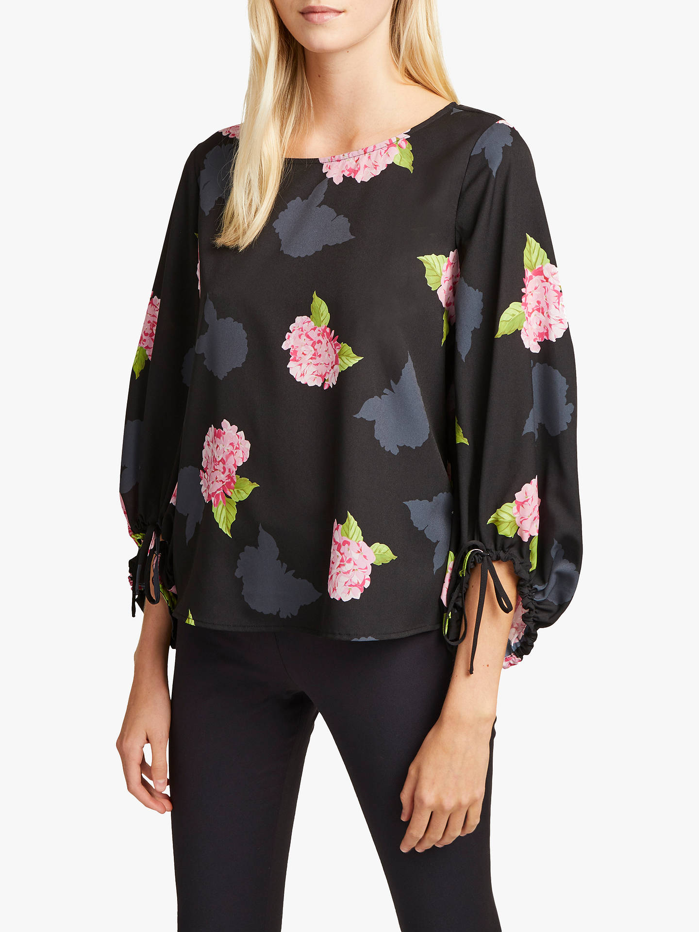 3eeb820e5c00b5 Buy French Connection Eleonore Floral Top, Black Multi, XS Online at  johnlewis.com ...