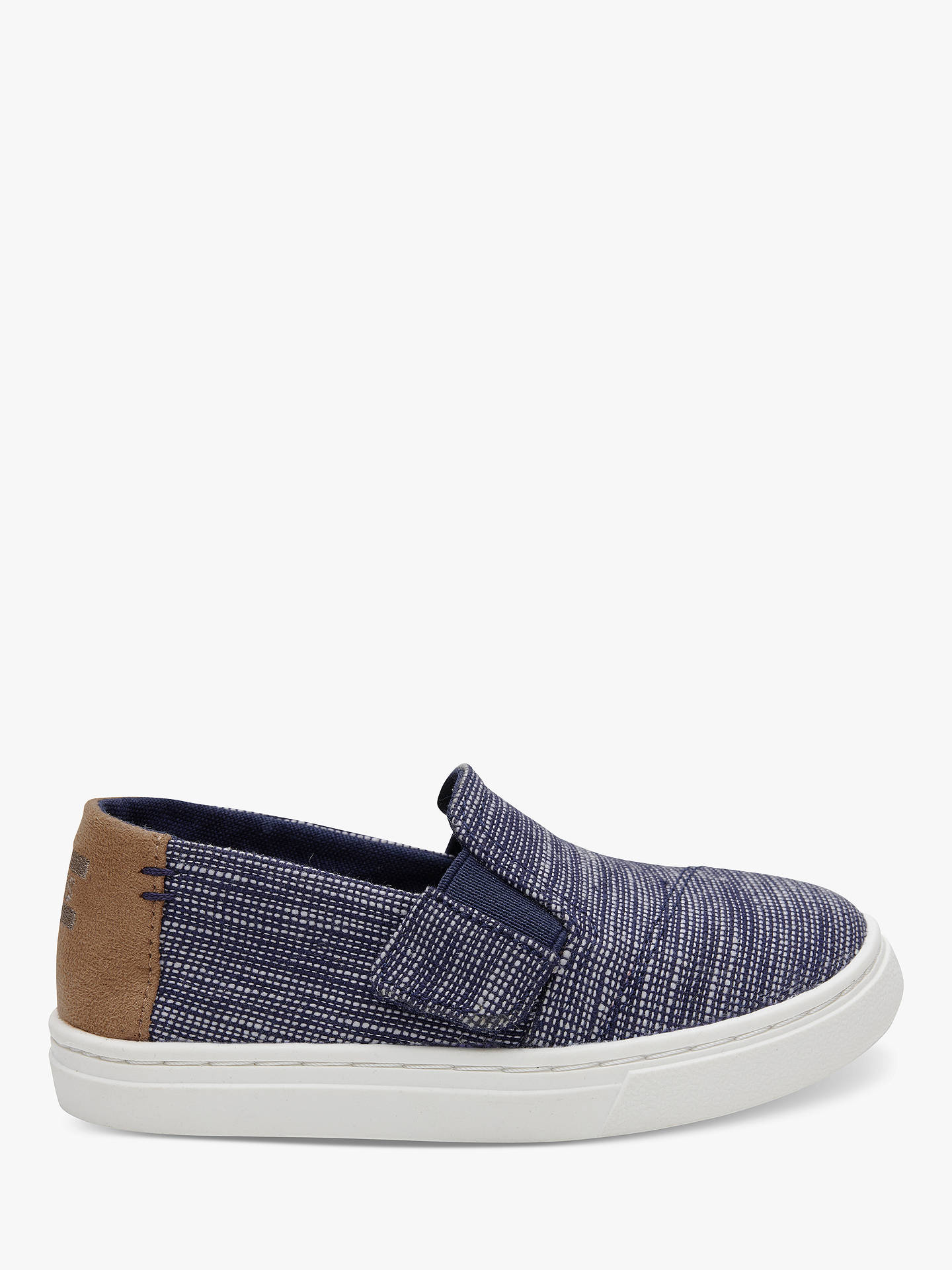 BuyTOMS Junior Luca Stripe Chambray Shoes, Navy, 5 Jnr Online at johnlewis.com