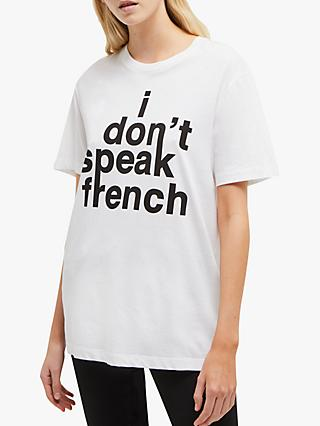 87b95370ddb French Connection French Slogan T-Shirt, White/Black