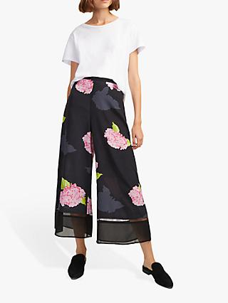 French Connection Eleonore Culottes, Black/Multi