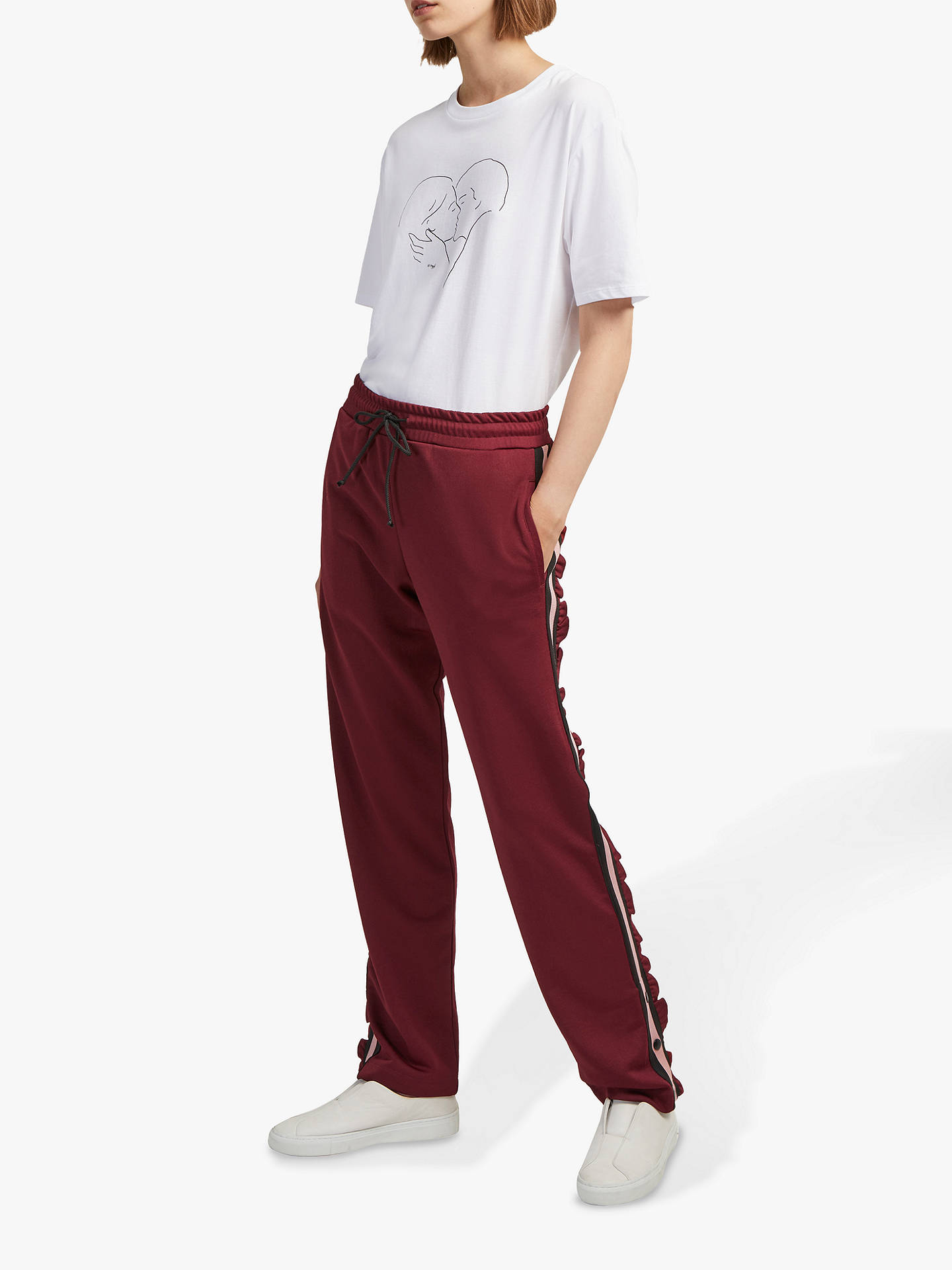 BuyFrench Connection Yvonne Stripe Joggers, Rosso Red, M Online at johnlewis.com