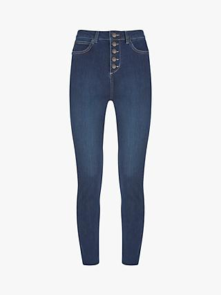 Mint Velvet Joilet Indigo Button Fly Jean, Dark Blue