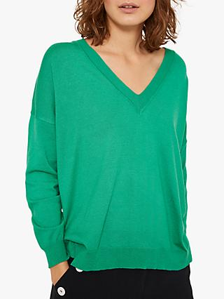 Mint Velvet Boxy V Neck Jumper, Green