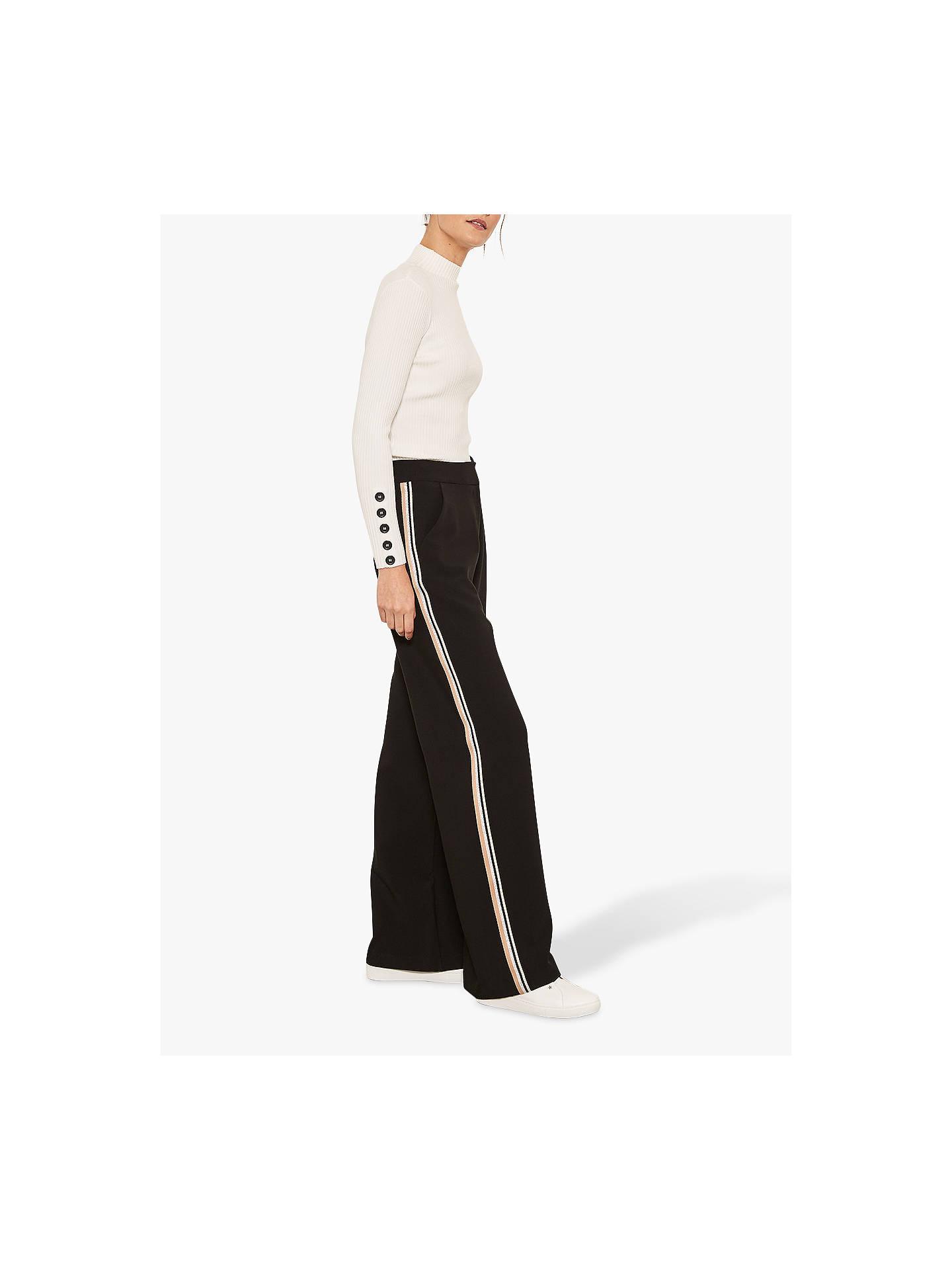 40c583d8 Mint Velvet Side Stripe Wide Leg Trousers, Black/Camel at John Lewis ...