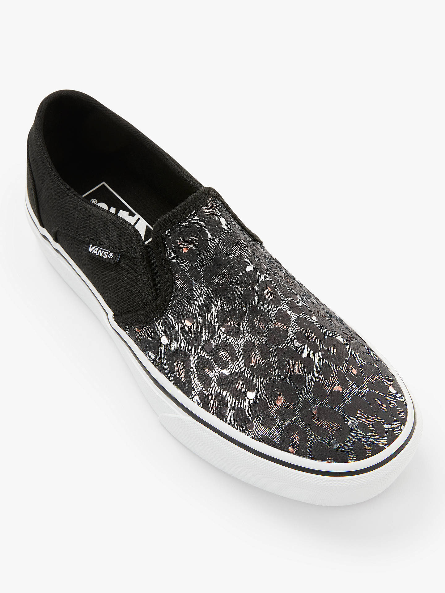 Vans Asher Slip On Platform Trainers, Black/Met Leopard at John ...