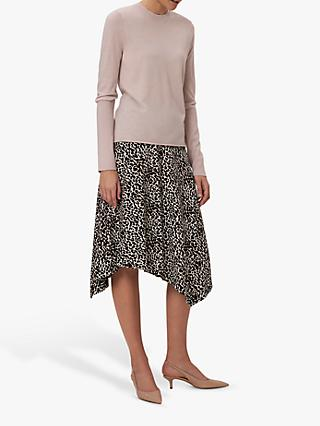 Winser London Asymmetric Jersey Leopard Print Skirt, Brown