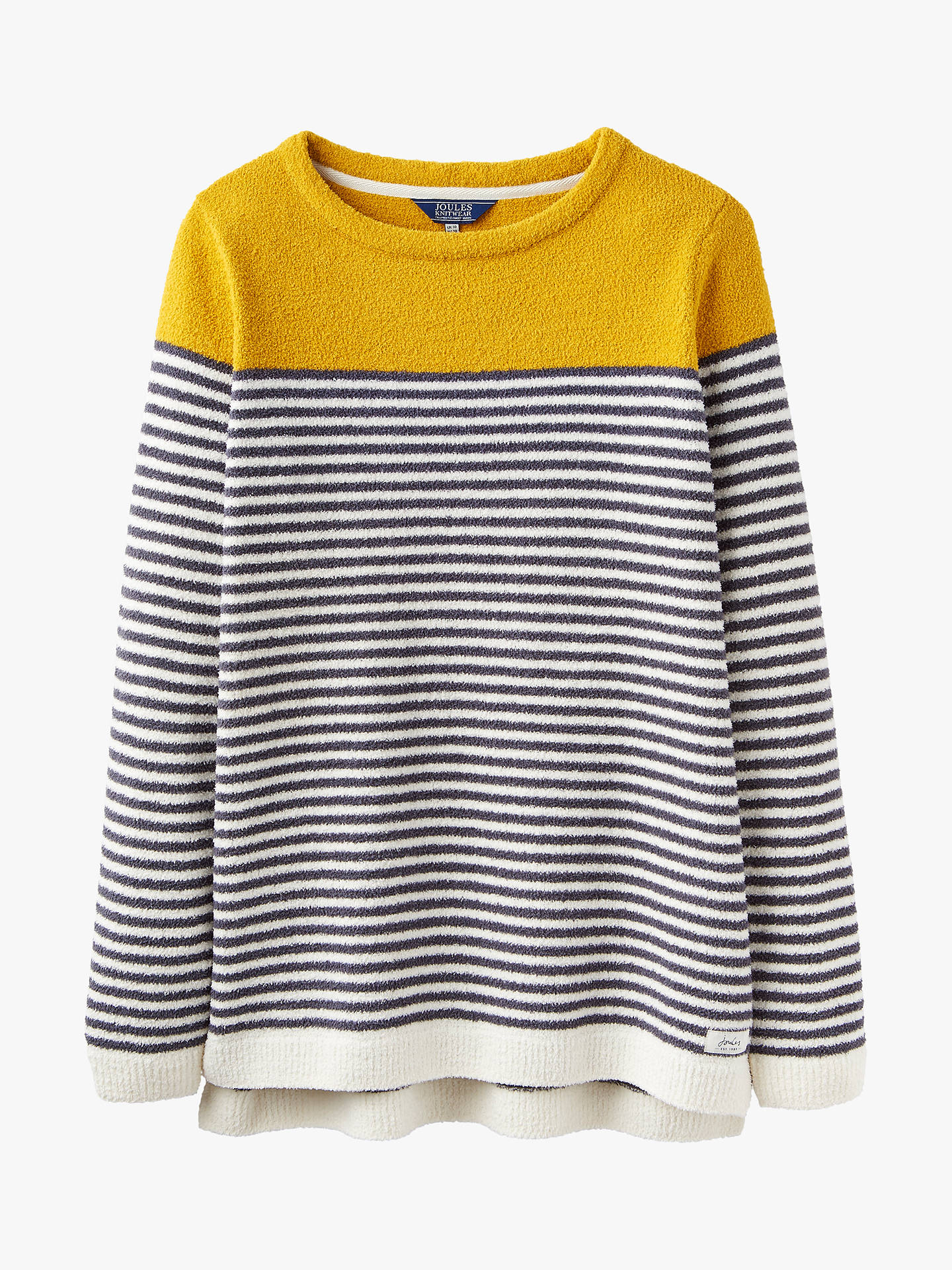 1ef4f58f86e Joules Seaham Chenille Stripe Jumper, Grey/Cream/Gold at John Lewis ...