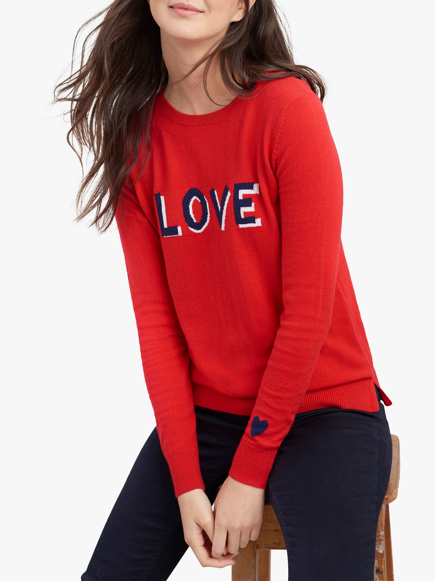 Buy Joules Love Colour Block Crew Neck Jumper, Red, 6 Online at johnlewis.com