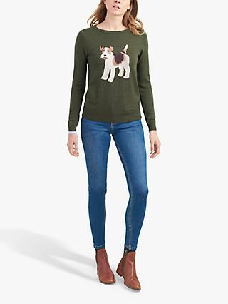 Joules Miranda Intarsia Jumper, Green Dog