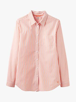 Joules Lucie Stripe Shirt, White/Orange