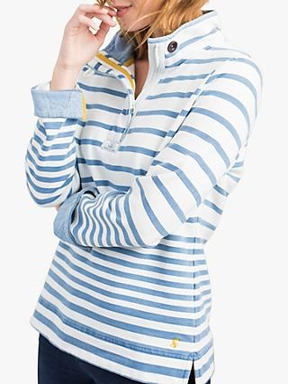 Joules Saunton Salt Stripe Funnel Neck Sweatshirt, Blue