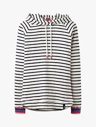 Joules Marlston Stripe Sweatshirt Hoodie, Cream/Navy