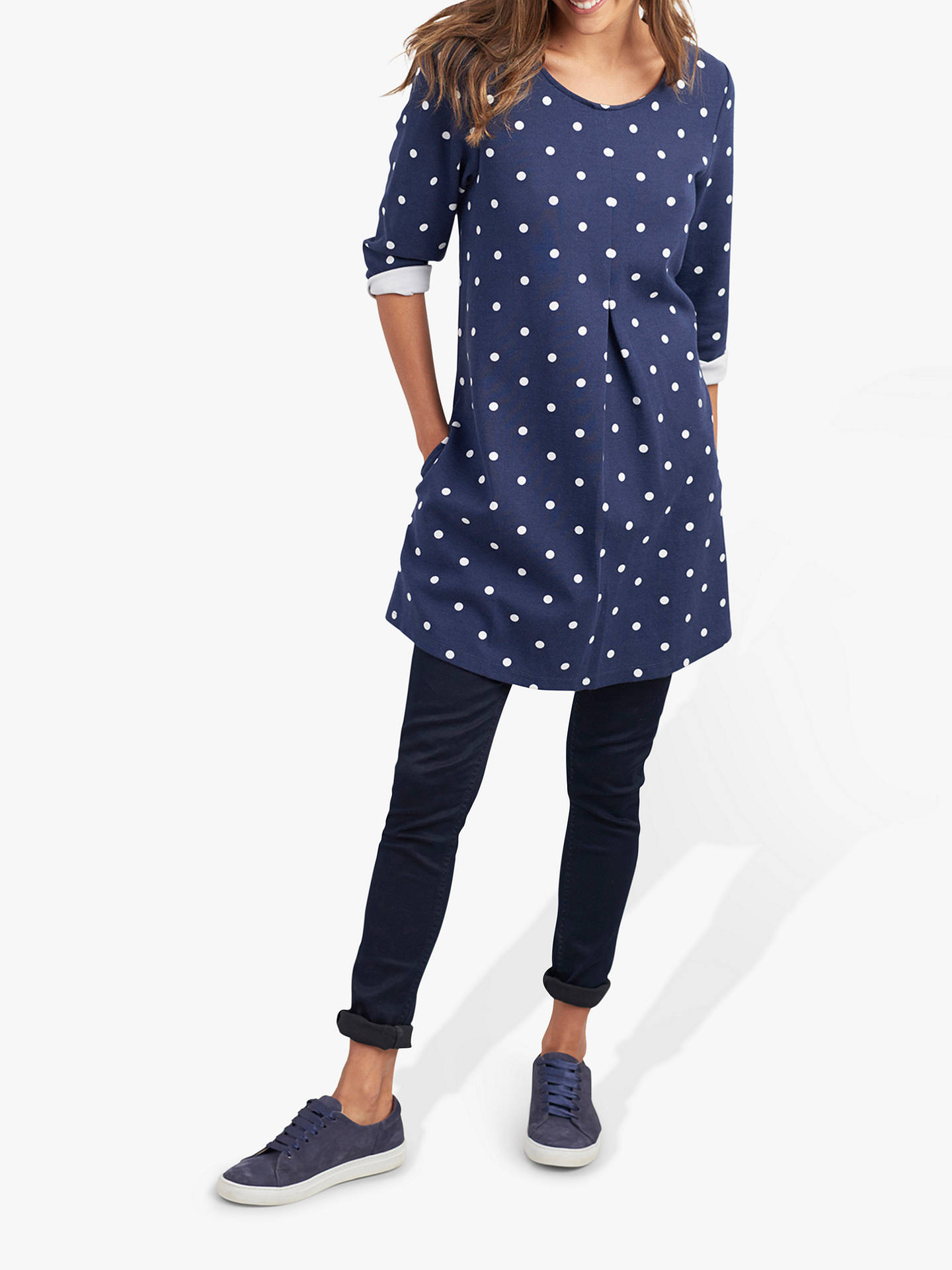 b49d581cd60 Buy Joules Edith Polka Dot Tunic, Navy, 16 Online at johnlewis.com ...