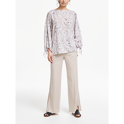 Modern Rarity Archive Print Stem Floral Draw Sleeve Top, Natural