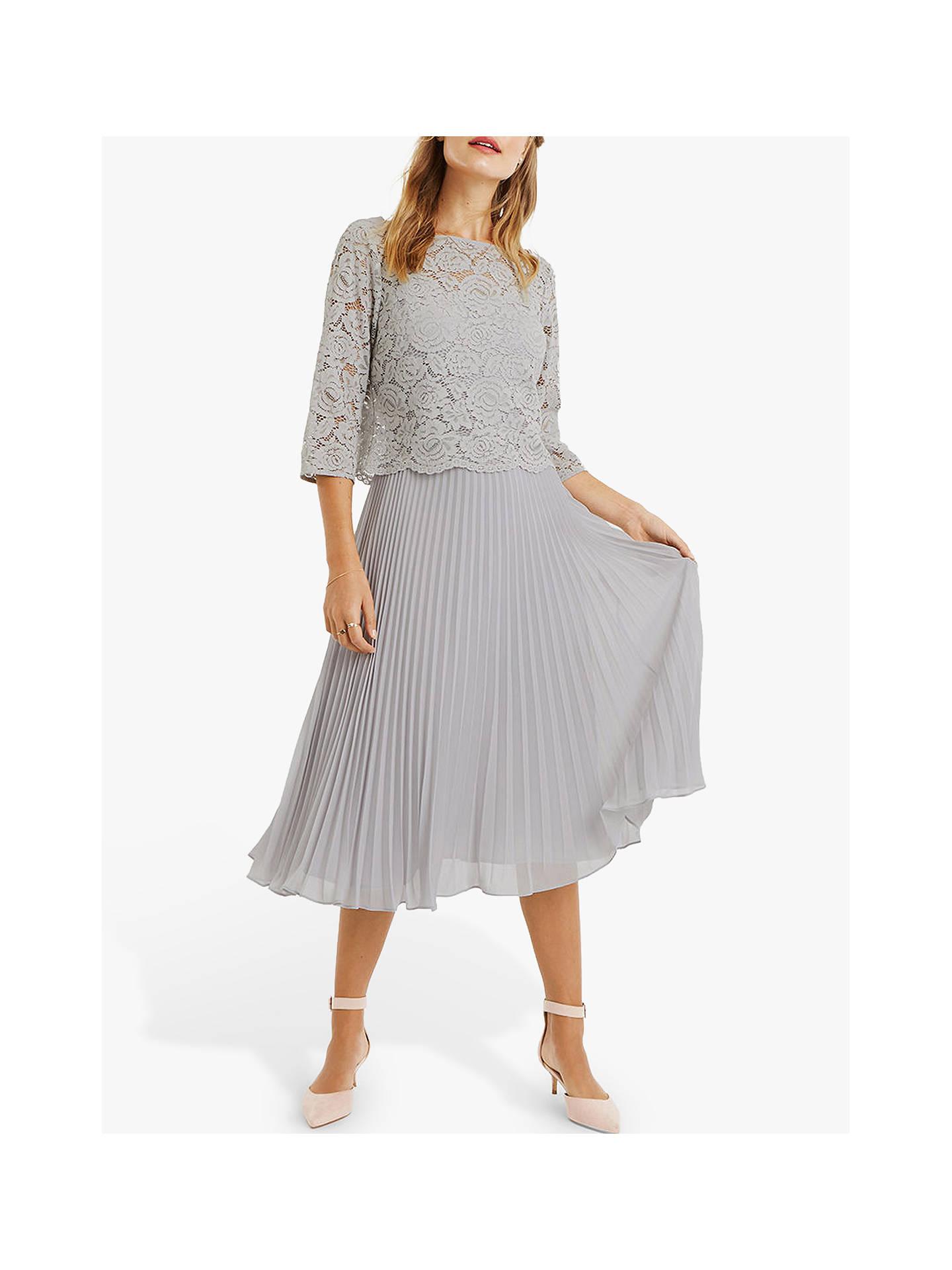 66db40d62c26 Buy Oasis Lace Top Midi Dress, Pale Grey, 12L Online at johnlewis.com ...